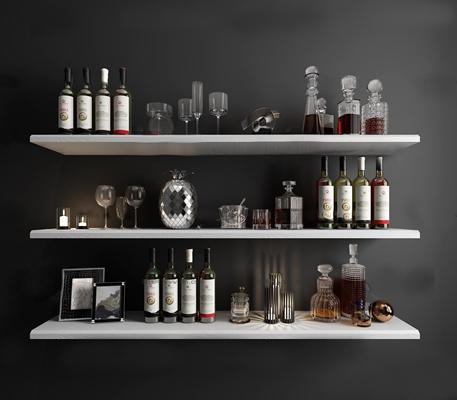 现代酒水酒杯组合3D模型【ID:26976050】