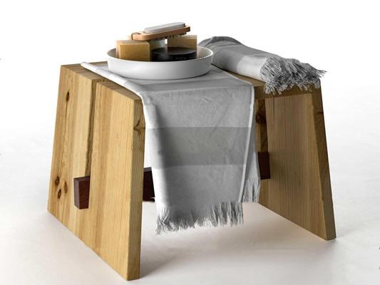 现代实木凳子毛巾香皂组合3D模型【ID:26982014】