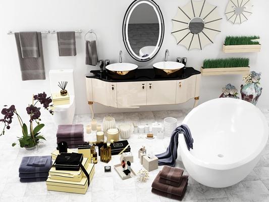 简欧浴缸台盆柜架卫浴用品组合3D模型【ID:26982800】