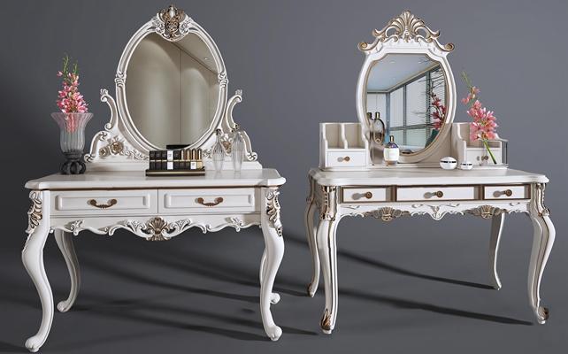 欧式白色雕花梳妆台组合3D模型【ID:26984667】