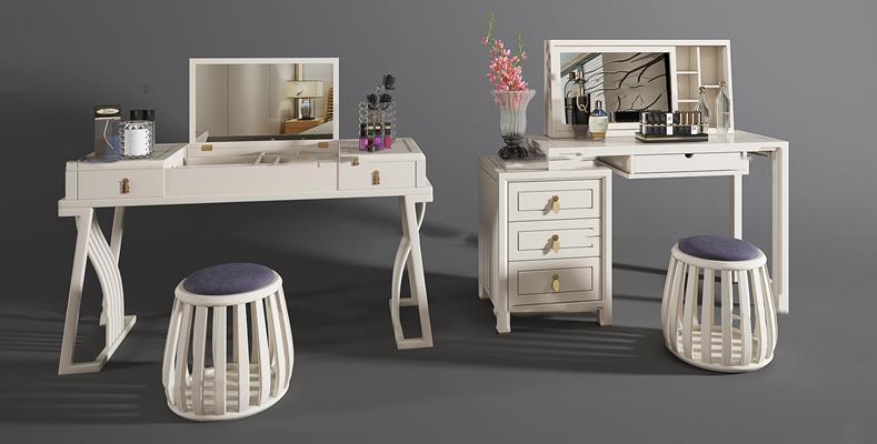 现代梳妆台凳子组合3D模型【ID:26991468】