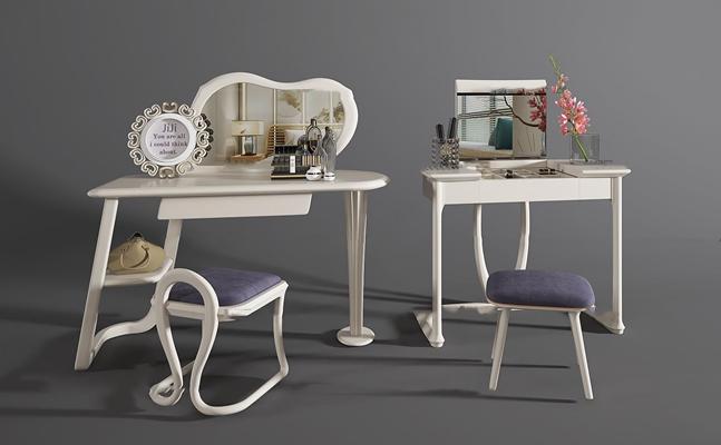 现代梳妆台凳子组合3D模型【ID:26991560】