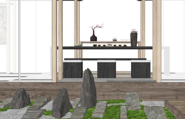 中式茶室SU模型【ID:644983013】