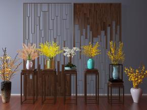 新中式花架花瓶黃花屏風組合3D模型【ID:327785856】