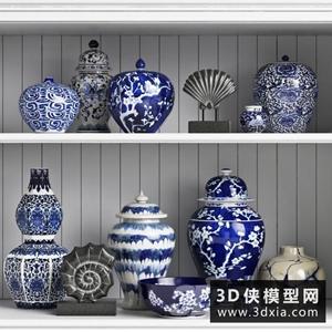 青花瓷装饰品国外3D模型【ID:929313881】
