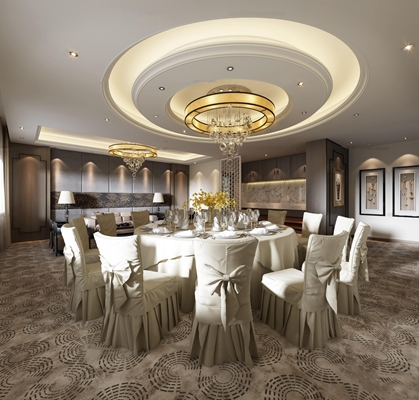 新中式餐厅包房3D模型【ID:27002652】