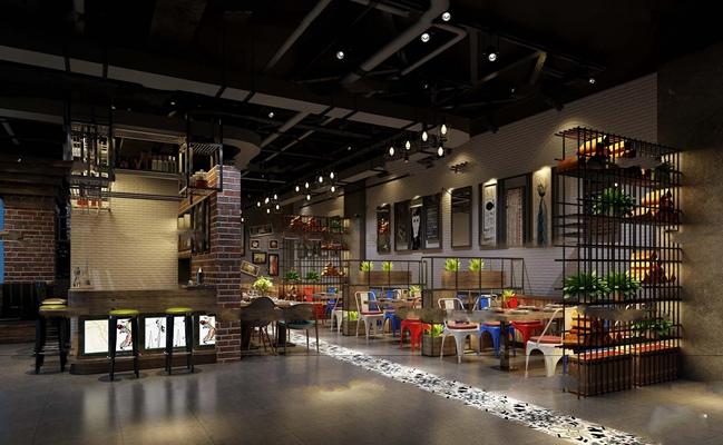 工业风休闲餐厅3D模型【ID:27005153】