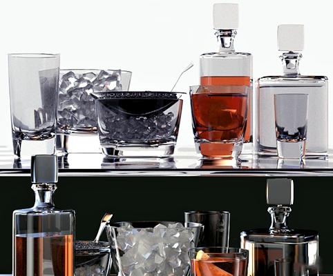 现代玻璃洋酒瓶水杯3D模型