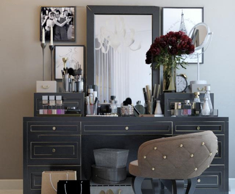 现代梳妆台化妆品单椅镜子组合3D模型【ID:27012062】