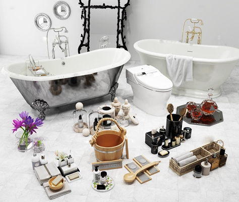 现代浴缸马桶毛巾香皂洗漱用品组合3D模型【ID:27014408】