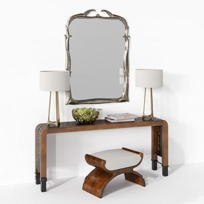 现代梳妆台凳子台灯镜子给合3D模型【ID:27026765】