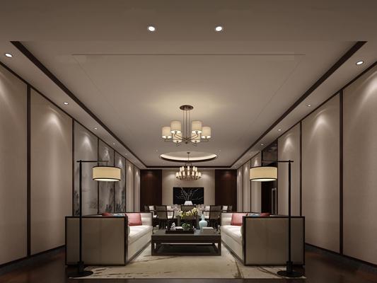 中式酒店餐厅包房休息区3D模型【ID:27027054】