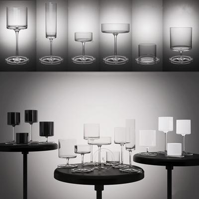 现代玻璃高脚杯红酒杯圆几3D模型