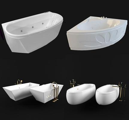 现代浴缸组合3D模型【ID:27030407】
