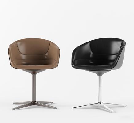 现代皮革办公休闲椅椅3D模型【ID:27039099】