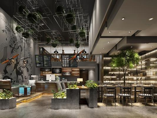 北欧休闲咖啡厅3D模型【ID:27041951】