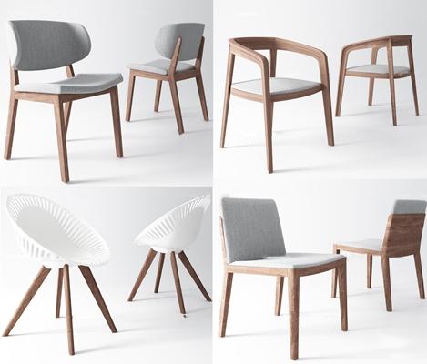 北欧布艺单椅休闲椅组合3D模型【ID:27042549】
