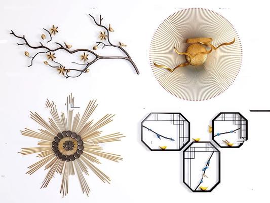 新中式金属花枝窗格挂件组合3D模型【ID:27044824】