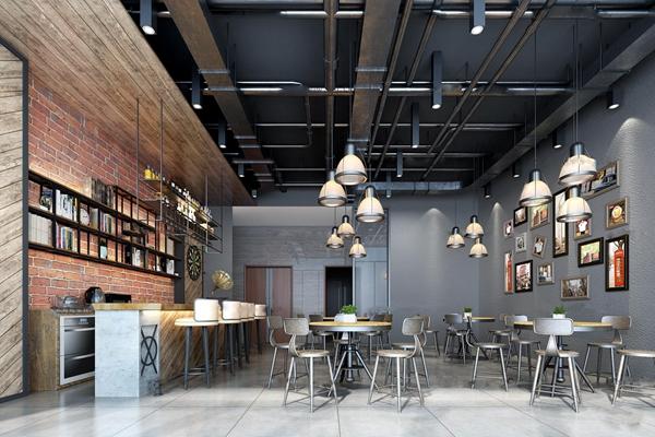 工业风咖啡厅3D模型【ID:27045056】