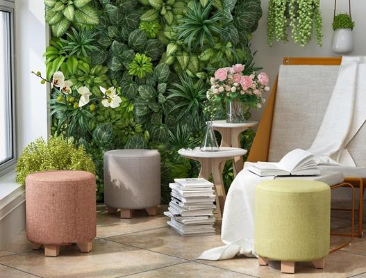 现代休闲椅圆凳花瓶绿植背景墙组合3D模型【ID:27045140】