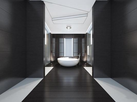 新中式浴室浴缸3D模型【ID:27045406】
