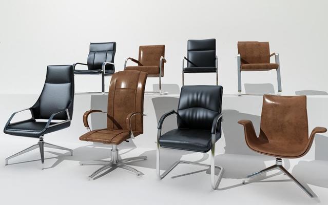 现代皮革办公椅组合3D模型【ID:27047392】