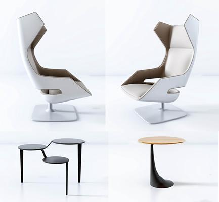 现代科技灵感办公椅茶几组合3D模型【ID:27047899】