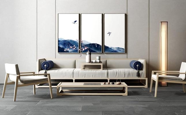 新中式沙发茶几组合3D模型【ID:27054542】