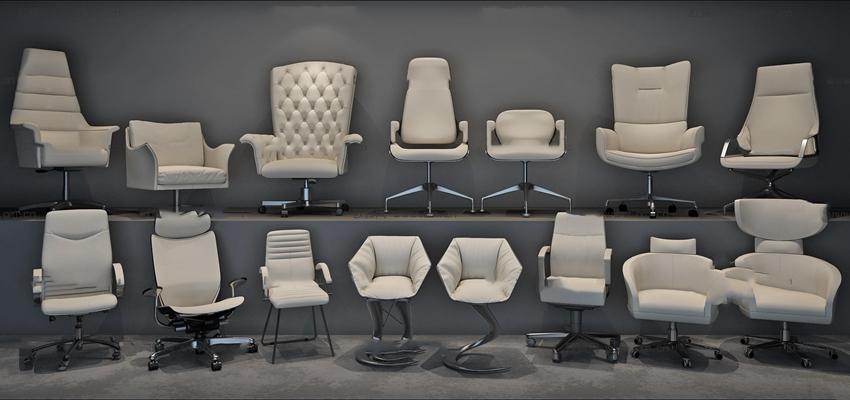 现代皮革办公椅组合3D模型【ID:27054797】