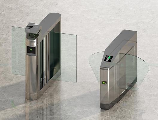 现代办公楼大堂通道翼闸防尾随速通门3D模型【ID:27057171】