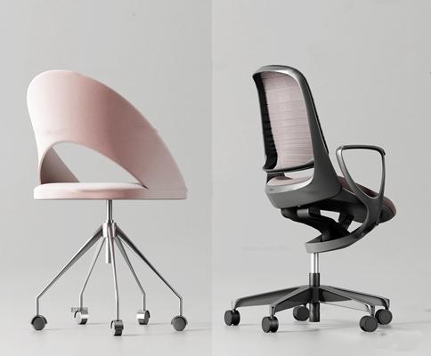 现代时尚办公椅组合3D模型【ID:27061995】