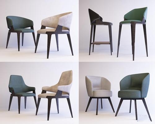 现代实木单椅组合3D模型【ID:27066144】