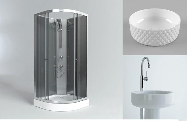 现代台盆花洒玻璃浴室组合3D模型【ID:27068058】
