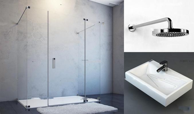 现代台盆花洒玻璃浴室组合3D模型【ID:27068151】