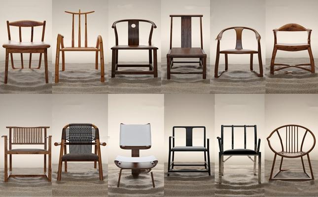 新中式实木单椅组合3D模型【ID:27069848】