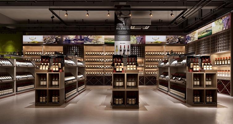 现代商场红酒区3D模型【ID:27073197】