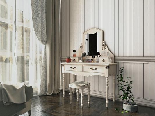 欧式白色梳妆台化妆品盆栽组合3D模型【ID:27077269】