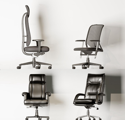 现代皮革布艺办公椅组合3D模型【ID:27080399】