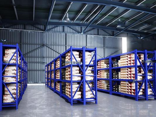 现代厂房仓库货架3D模型
