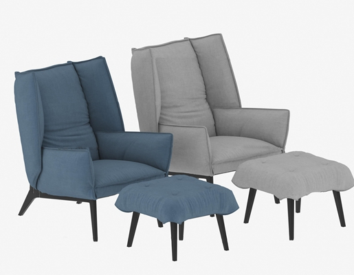 现代布艺休闲椅脚踏组合3D模型【ID:219741482】