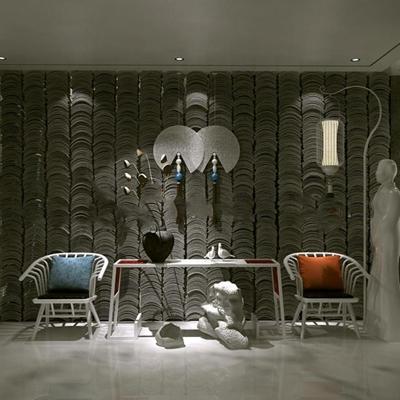 式实木单椅条案摆件落地灯瓦片墙组合3D模型【ID:27123146】