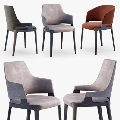 现代布艺单椅组合3D模型【ID:27123247】