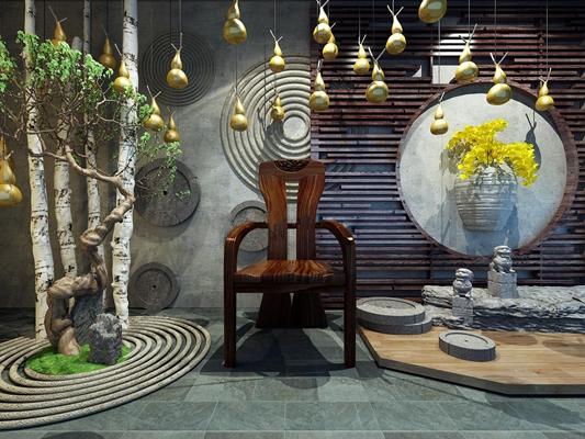 中式阳台花园石狮葫芦白桦树墙体挂件3D模型【ID:27123545】