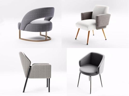 现代沙发椅子组合3D模型【ID:27124441】