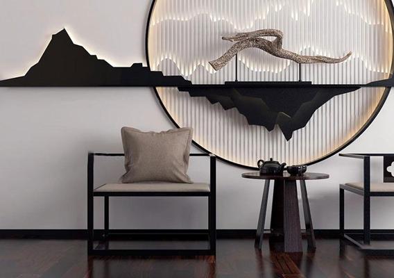 新中式休闲椅茶几背景墙组合3D模型下载【ID:27124445】