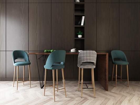 后现代吧台椅餐具组合3D模型【ID:27128344】