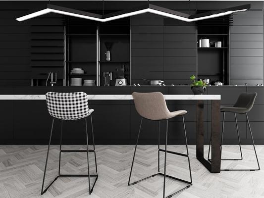 现代吧台吧椅组合3D模型【ID:27128546】