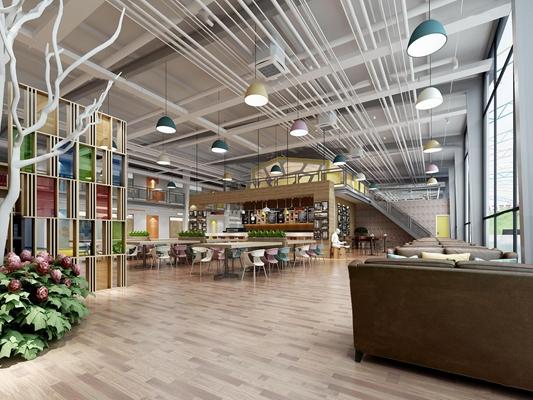 现代混搭工业风休闲餐厅3D模型【ID:27160693】