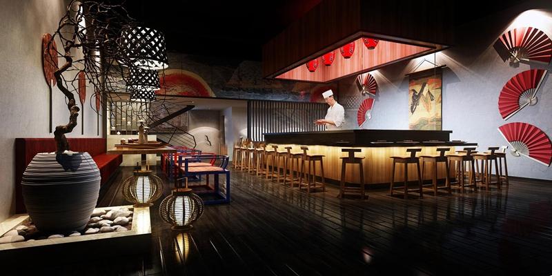 日式寿司店3D模型【ID:27160698】