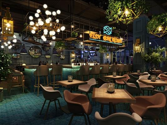 工业风酒吧3D模型【ID:419726419】